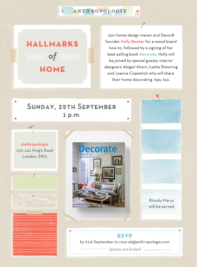 Join me Holly Becker, Joanna Copestick and Leslie Shewring at Anthropologie next weekend